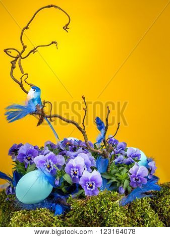 Easter composition with blue bird sitting on tree branch with violet flowers end blue egg shot on yellow background