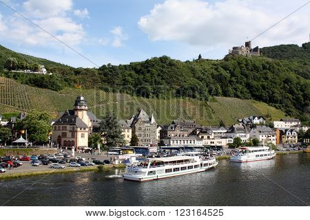Bernkastel-Kues. May-28-2011. Cruise ships are on the Moselle at Bernkastel--Kues. Germany