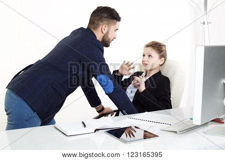 young businesswoman have a stalker in office