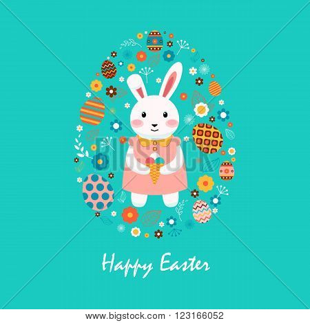 Stock vector illustration Happy Easter bunny in dress with ice cream, colored eggs, spring decoration, leave, flowers in flat style on blue background to printed materials, website, postcard, greeting