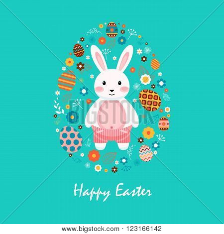 Stock vector illustration Happy Easter bunny in striped shorts, colored Easter eggs, spring decoration, leave, flower in flat style on blue background to printed materials, website, postcard, greeting