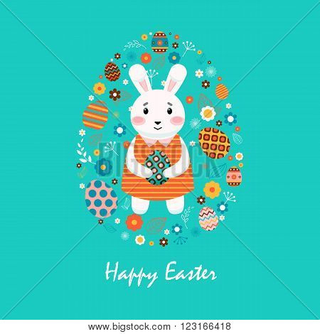 Stock vector illustration Happy Easter with bunny in striped dress, colored eggs, spring decoration, leaves, flower in flat style on blue background to printed materials, website, postcard, greeting