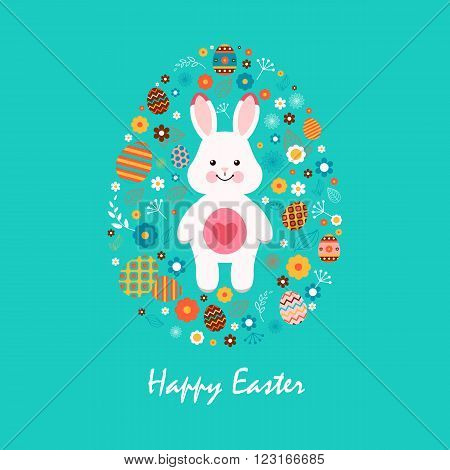 Stock vector illustration Happy Easter white bunny with heart, colored Easter egg, spring decoration, leaves, flowers in flat style on blue background to printed materials, website, postcard, greeting