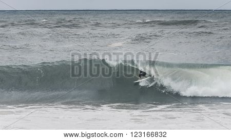 riding the barrel at hossegor in france