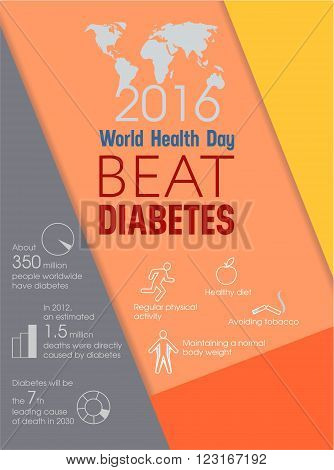 World Health Day Beat Diabetes design flyer or booklet