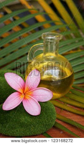 Pink plumeria flower and aromatic massage oil