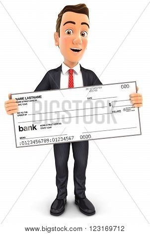 3d businessman holding big bank check isolated white background