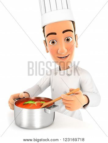 3d head chef cooking soup isolated white background