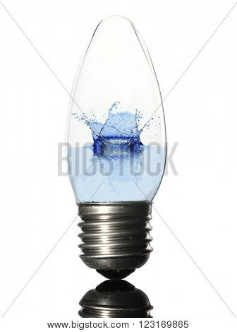 Light bulb with water spalsh isolated on white