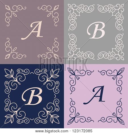 Set of monogram line vintage frames. Greeting cards. Wedding invitations. Retro style. Vector logo template, labels and badges