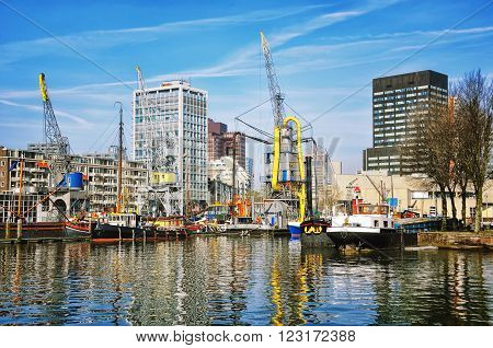 City port with in Rotterdam Netherlands.The largest port in Europe located near the mouth of the New Meuse.