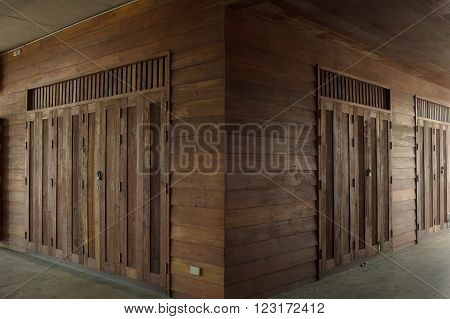 Wood architecture in two point perspective with natural light