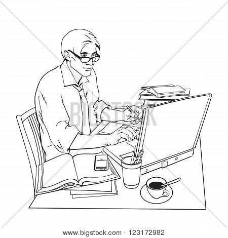 A man in a shirt sits at a table. Writer, journalist, scholar, student write his work in the computer. Work on the Internet. On the table, a lot of paperwork. The process of study. Vector illustration