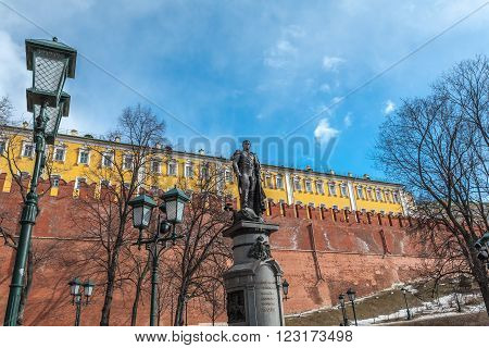 Moscow, Russia - March 20, 2016: Monument to the emperor Alexander I, a bronze sculpture in the center of Moscow in memory of the emperor All-Russian Alexander I of work of the sculptor of Salavat Scherbakov.