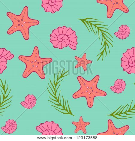 Vector seamless sea pattern. Deep blue green background with starfish, seashells and algae. Seaside resort, vacation or diving concept. Simple marine texture for print and web.
