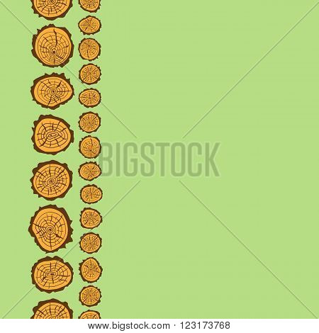 Pattern frame drawings saw cut of tree for design
