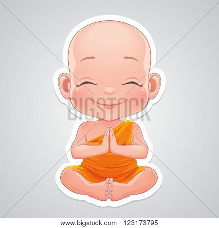 Vector illustration. Little praying little buddhist boy.