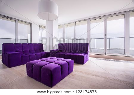 Violet Hassock And Sofa