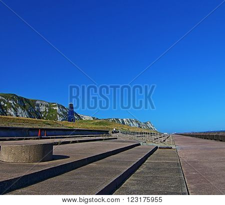 Samphire Hoe Tower at Cliffs of Dover Seawall