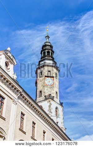 Town hall tower in the old town of Gorlitz, Germany