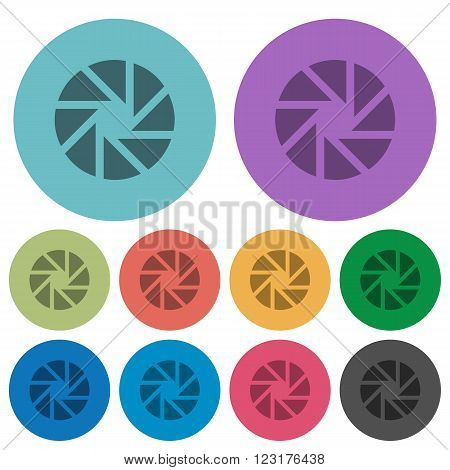 Color aperture flat icon set on round background.