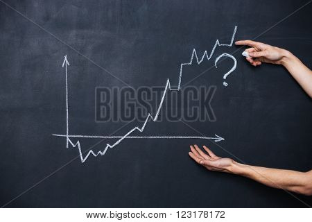 Decreasing and increasing graph showing uncertainty drawn on blackboard background