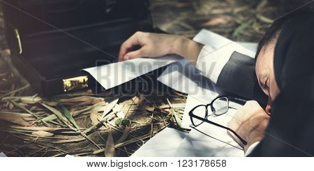 Businessman Tired Lay Down Sleep Parcel Letter Concept