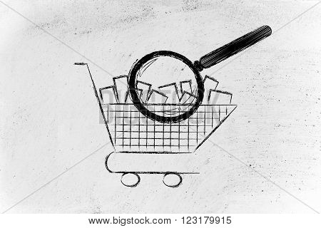 Magnifying Glass Analyzing A Shopping Cart Full Of Items
