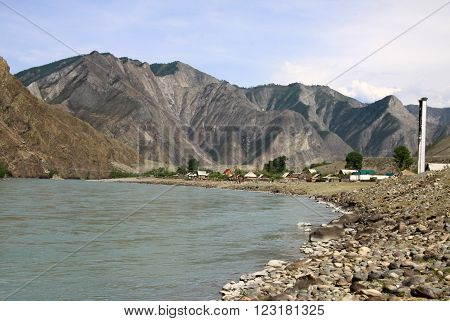 Siberia, Russia - June 10, 2012: Mountain River Katun, Altai Mountains, Russiasiberia, Russia - June