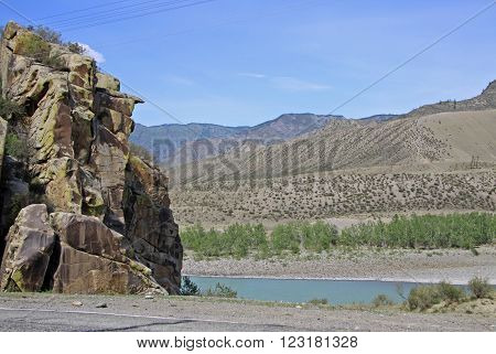 Siberia, Russia - June 10, 2012: Mountain River Katun, Altai Mountains, Russia