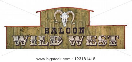 Wild west saloon signboard on wooden board with sheep skull. Isolated on white