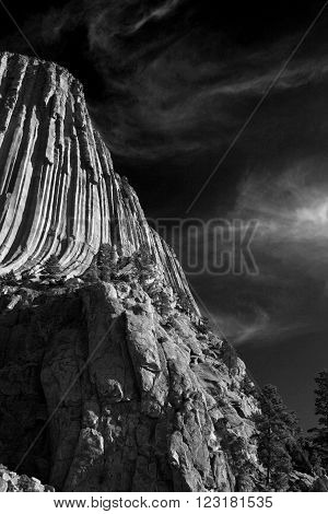 Devils Tower National Monument in ithe Black Hills of South Dakota / Wyoming USA in black and white