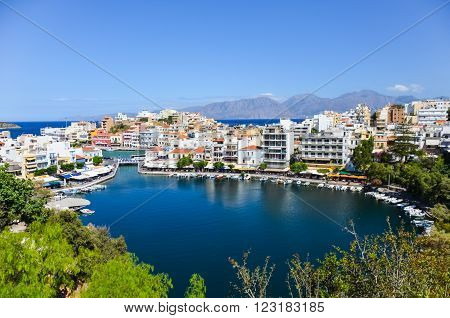 GREECE CRETE AGIOS NIKOLAOS - JULY 12/2014: On this day feast of fish. Many people landed on their boats to celebrate the triumph of the local restaurants.