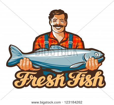 fisherman holds a large fish in his hands. vector illustration