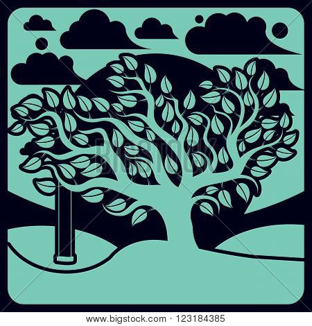 Vector Branchy Tree With Swing On Beautiful Cloudy Spring Landscape.  Idyllic And Peaceful Scene, In