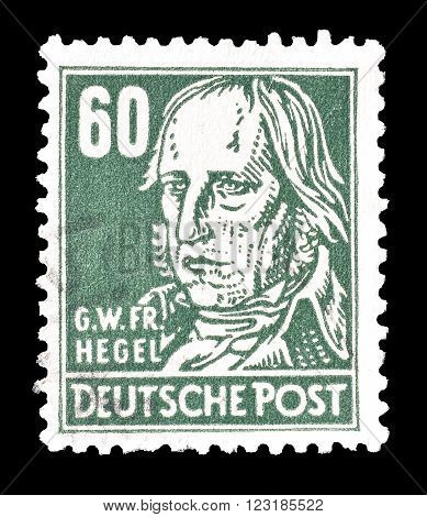 GERMANY - CIRCA 1948: Cancelled postage stamp printed by Germany, that shows Hegel.