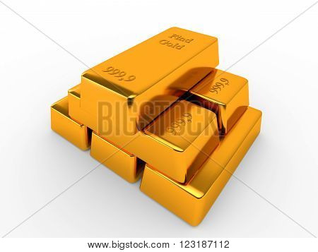 Bullions of gold lying on each other. Finance concept. 3d render