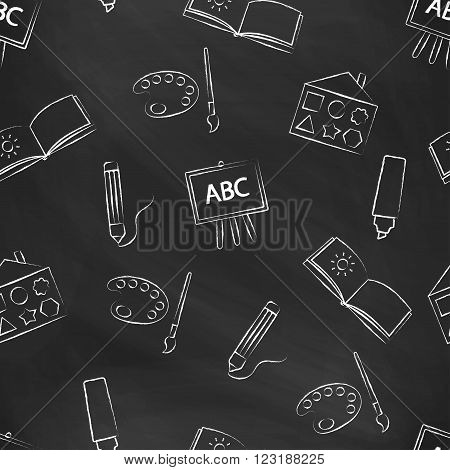 Seamless pattern black chalk board with children's chalk drawings. Hand-drawn style. Seamless vector wallpaper with the image of colors, brushes, album and other school items
