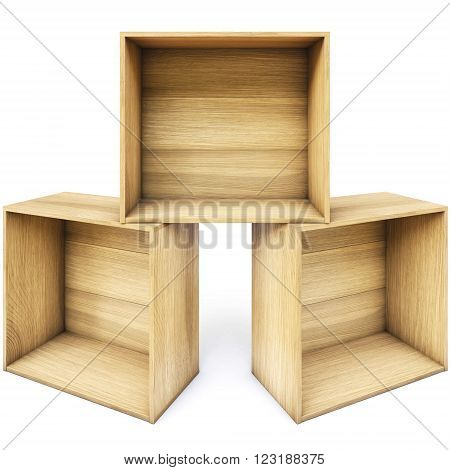 empty wooden boxes. isolated on white background.