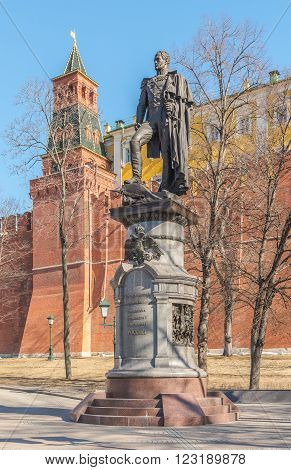 Moscow Russia - March 23 2016: the Monument to Emperor Alexander I in Alexander garden.