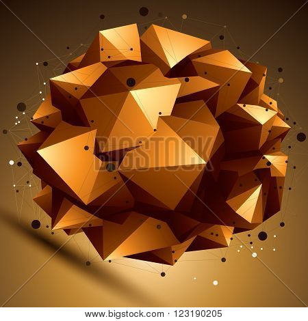 Geometric Abstract 3D Complicated Lattice Object, Bright Asymmetric Element With Wireframe Structure
