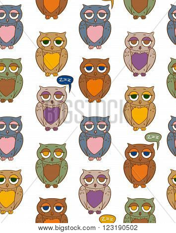 Seamless Vector Pattern with Sleepy Multicilored Owls on a White Background