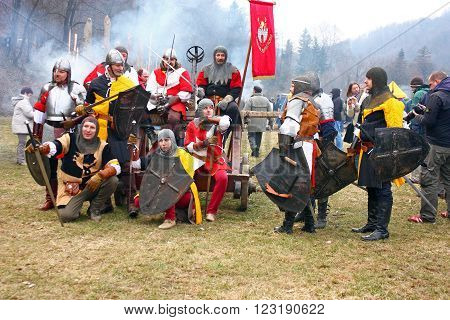 CROATIA SAMOBOR 7 MARCH 2010: Soldiers after the battle staging of a medieval battle at Samobor on March 1 1441 in Samobor Croatia