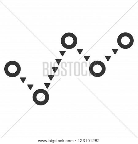 Dotted Trend vector icon. Dotted Trend icon symbol. Dotted Trend icon image. Dotted Trend icon picture. Dotted Trend pictogram. Flat gray dotted trend icon. Isolated dotted trend icon graphic.