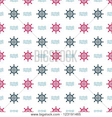 Ship helm vector seamless pattern. Helms and waves seamless texture. EPS8 vector illustration.