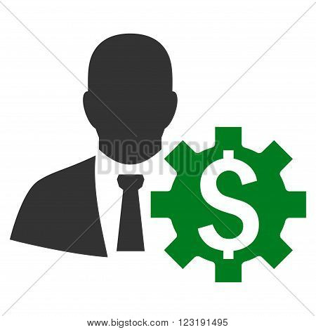Banker Options vector icon. Style is bicolor flat symbol, green and gray colors, white background.