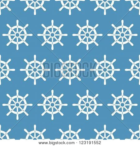 Vector seamless pattern with ship helms. Helms on blue background seamless texture. EPS8 vector illustration.