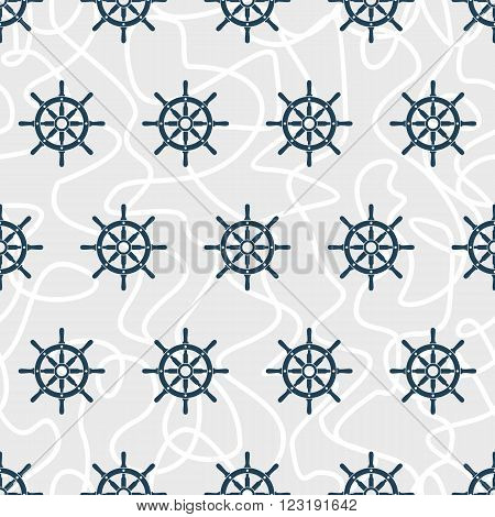Ship helm vector seamless pattern. Helms and tangled ropes seamless texture. EPS8 vector illustration.