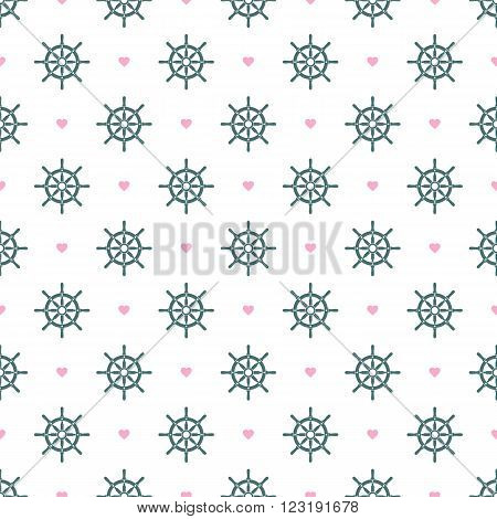 Ship helm vector seamless pattern. Helms and hearts seamless texture. EPS8 vector illustration.