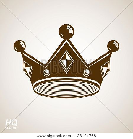 Royal design element regal icon. Vector majestic crown luxury stylized coronet illustration. King and queen regalia